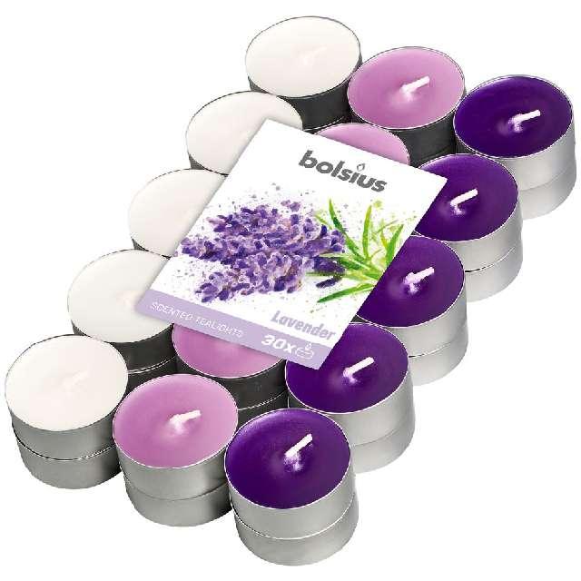 """Podgrzewacz zapachowy """"Miks kolorów - Lawendowe"""", fioletowe, Bolsius, 4h, 30 szt"""