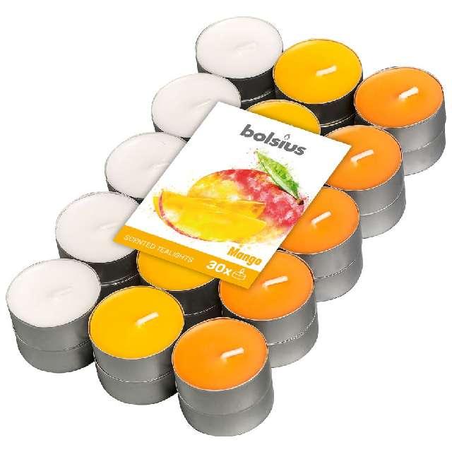"""Podgrzewacz zapachowy """"Miks kolorów - Mango"""", pomarańczowy, Bolsius, 4h, 30 szt"""