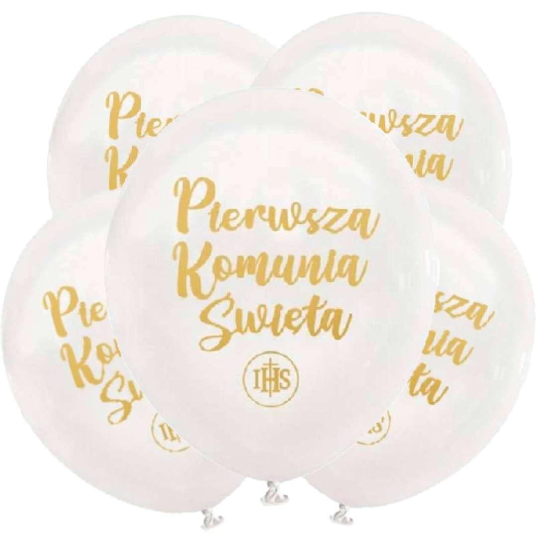Balony Pierwsza Komunia Święta białe DekoracjePolska 12 5 szt