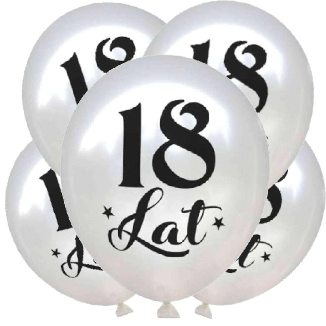 """Balony """"18 Urodziny"""", biały metalik, DekoracjePolska, 12"""", 5 szt"""