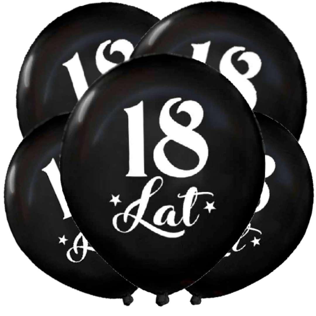 """Balony """"18 Urodziny"""", czarny metalik, DekoracjePolska, 12"""", 5 szt"""
