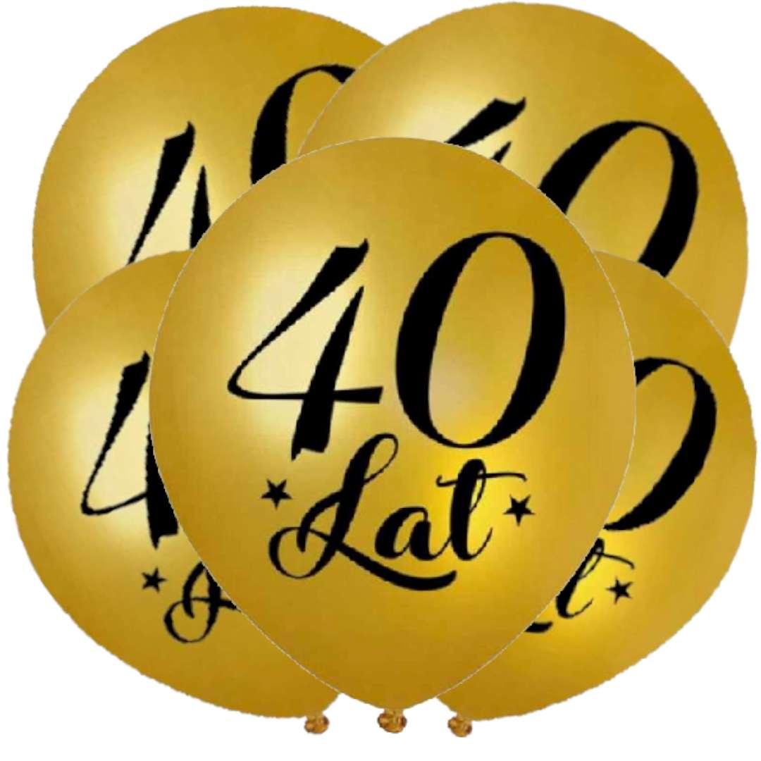"""Balony """"40 Urodziny"""", złoty metalik, DekoracjePolska, 12"""", 5 szt"""