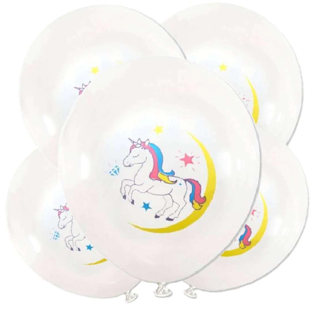 """Balony """"Tęczowe jednorożce"""", białe, DekoracjePolska, 12"""", 5 szt"""