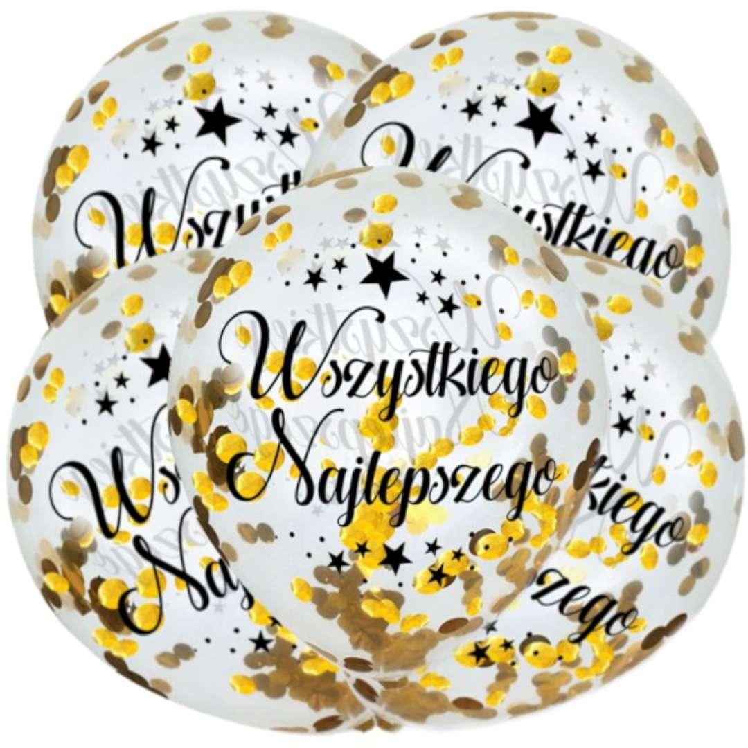 """Balony """"Złote Konfetti - Wszystkiego Najlepszego"""", transparentne, Dekoracje Polska, 12"""", 5 szt"""