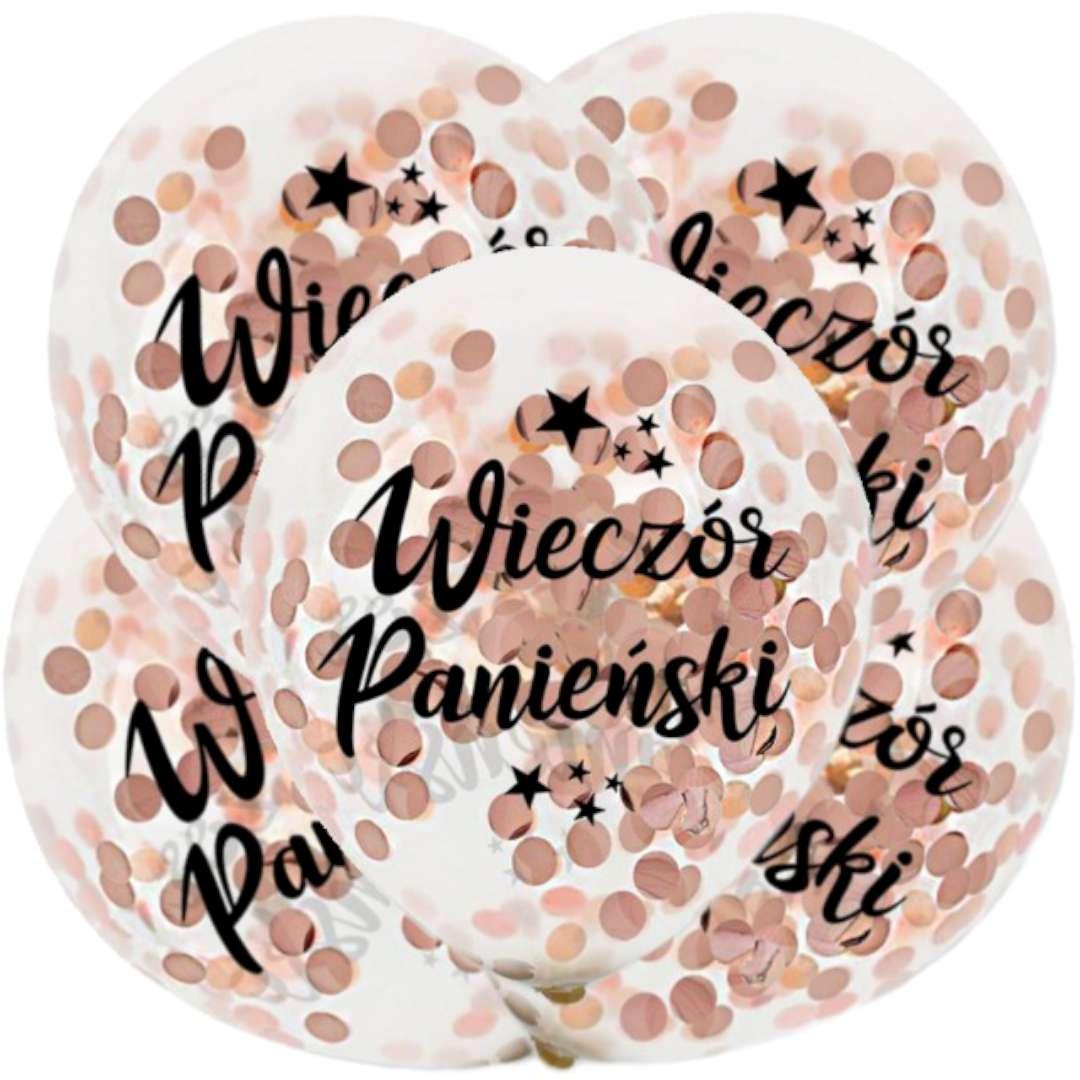 """Balony """"Różowe złoto Konfetti - Wieczór Panieński"""", transparentne, Dekoracje Polska, 12"""", 5 szt"""
