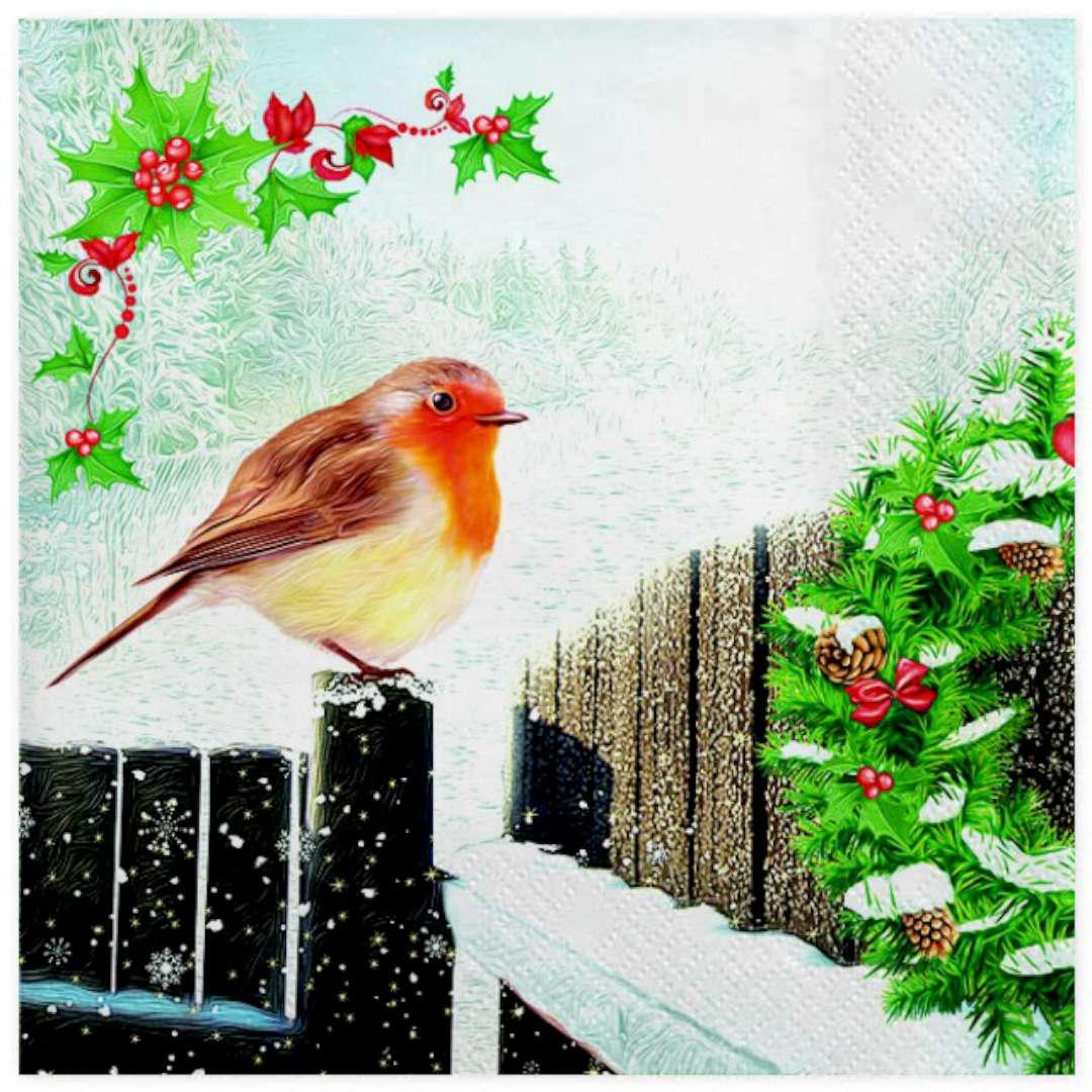 """Serwetki """"Świąteczny Gil na płocie z wieńcem"""", Maki, 33 cm, 20 szt"""