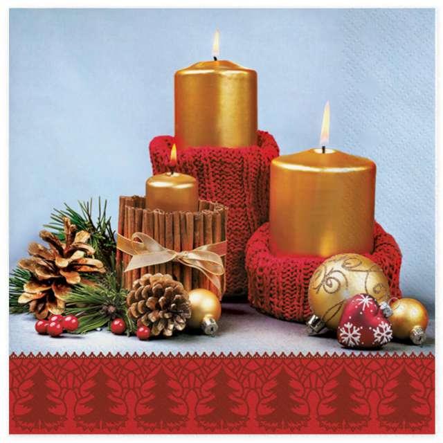 """Serwetki """"Złote świece w czerwonych sweterkach"""", Maki, 33 cm, 20 szt"""