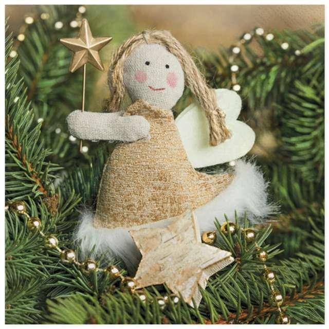 """Serwetki """"Świąteczny aniołek z tkaniny"""", Maki, 33 cm, 20 szt"""