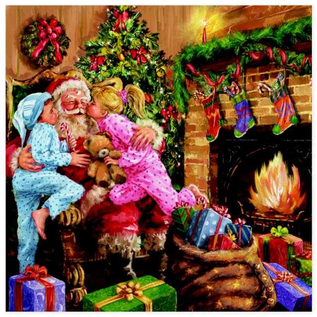"""Serwetki """"Święty Mikołaj z buziakami"""", Maki, 33 cm, 20 szt"""