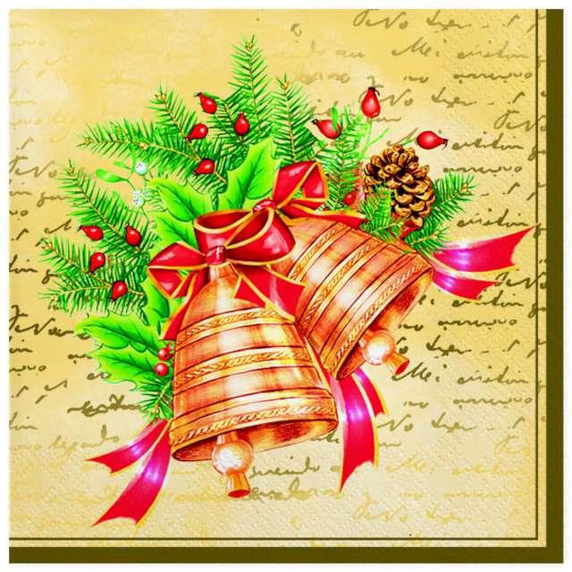 """Serwetki """"Świąteczne dzwony kremowe z wieńcem"""", Maki, 33 cm, 20 szt"""