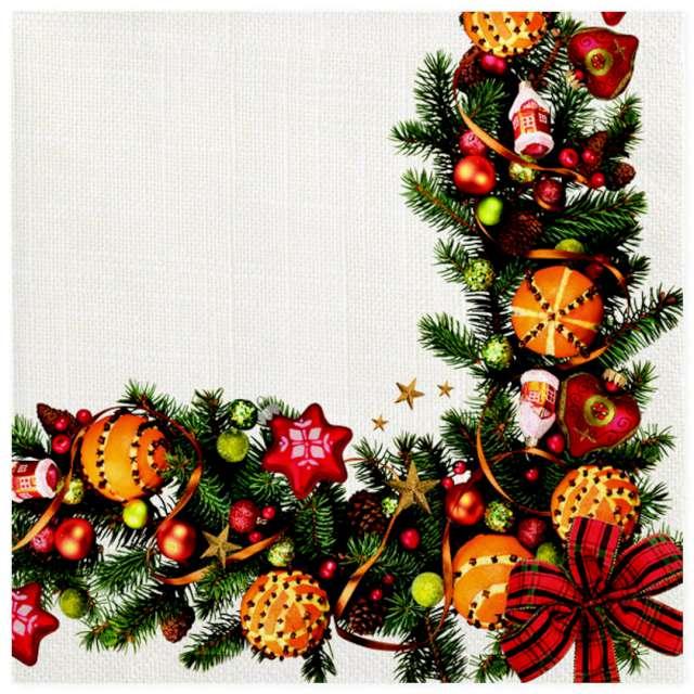 """Serwetki """"Świąteczna ramka z girlandy"""", Maki, 33 cm, 20 szt"""