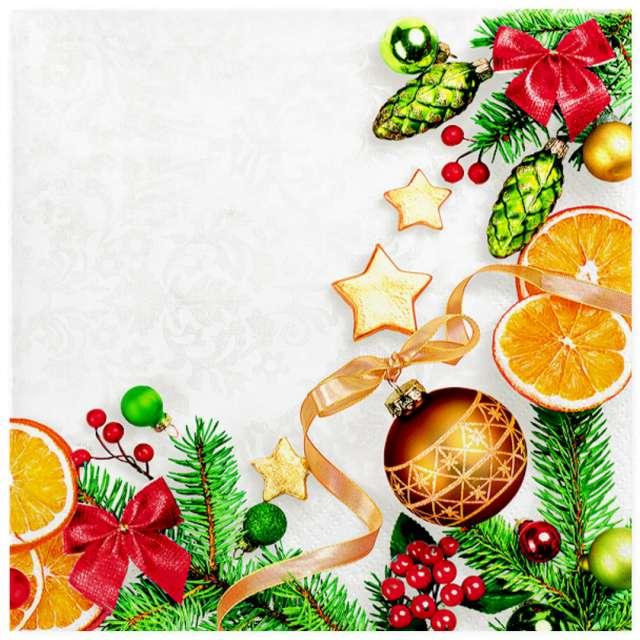 """Serwetki """"Świąteczna ramka z bombkami i pomarańczą"""", MAKI, 33 cm, 20 szt"""