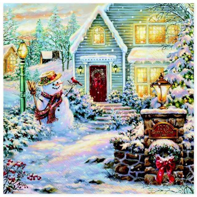 Serwetki Świąteczny poranek w mieście Maki 33 cm 20 szt