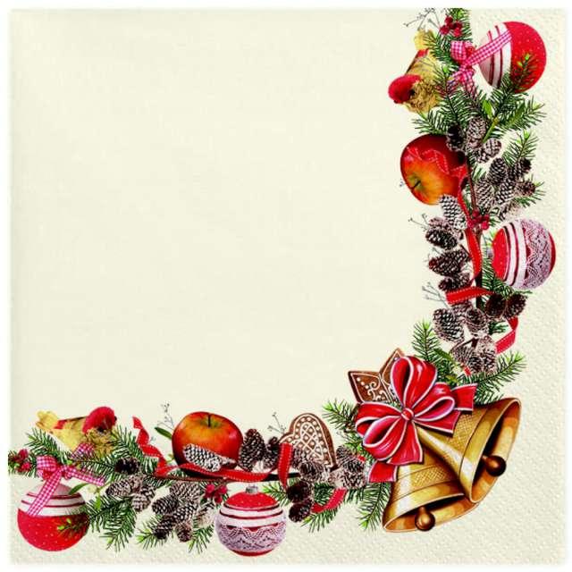 """Serwetki """"Świąteczna ramka z dzwonkami"""", Maki, 33 cm, 20 szt"""