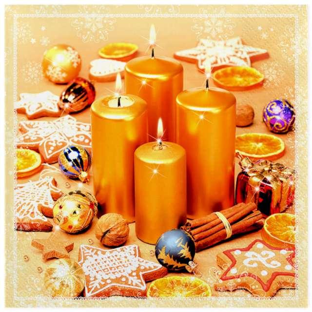 Serwetki Złote świece i ciasteczka Maki 33 cm 20 szt