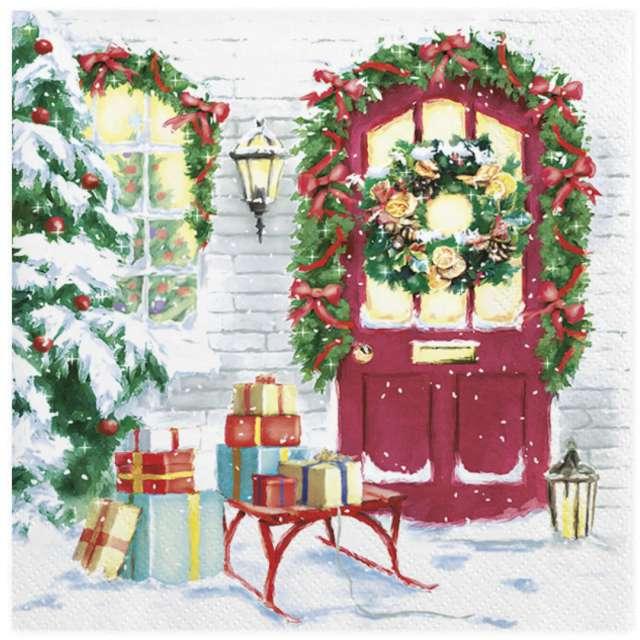 """Serwetki """"Świąteczne prezenty pod drzwiami""""Serwetki """"Świąteczne pierniki"""", Maki, 33 cm, 20 szt"""
