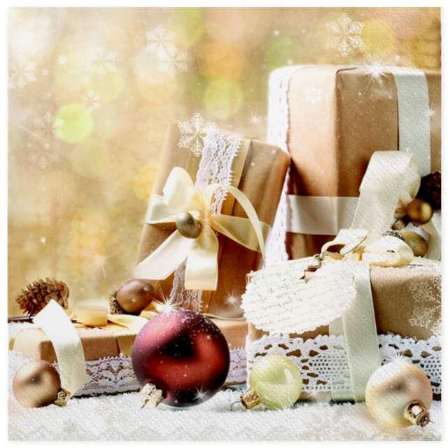 """Serwetki """"Świąteczne prezenty w beżu"""", Maki, 33 cm, 20 szt"""