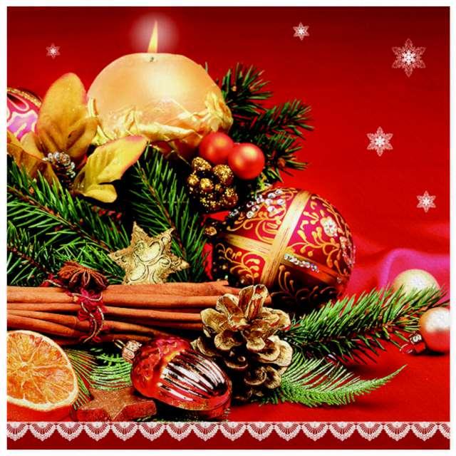 """Serwetki """"Świąteczny cynamon z bombkami i świecą"""", Maki, 33 cm, 20 szt"""