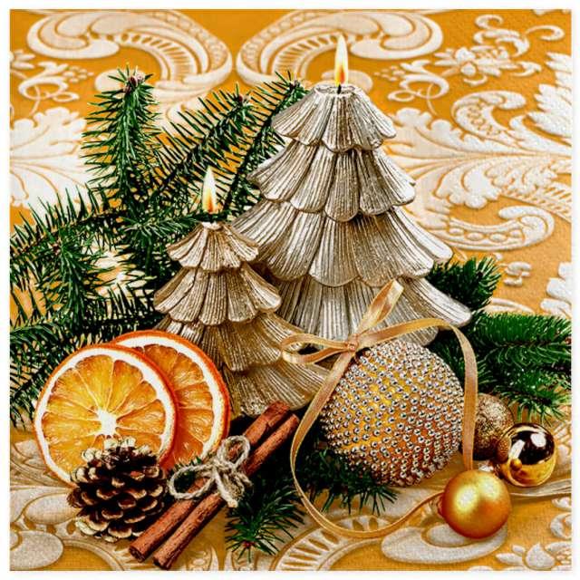 """Serwetki """"Świąteczne świeczki choinki i pomarańcze"""", Maki, 33 cm, 20 szt"""