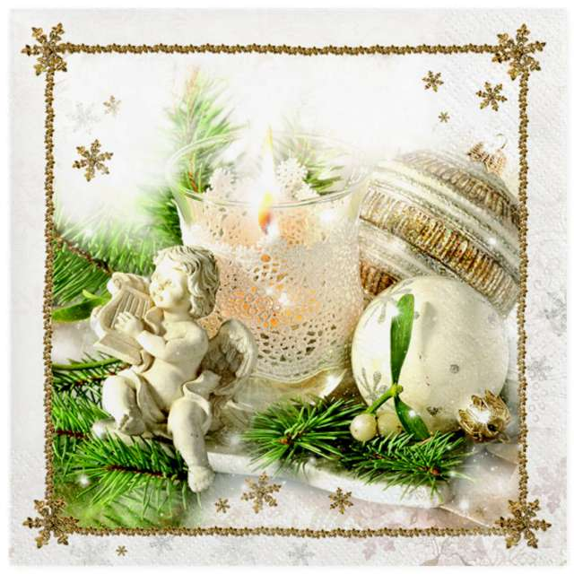 """Serwetki """"Świąteczne białe dekoracje z aniołkiem"""", Maki, 33 cm, 20 szt"""