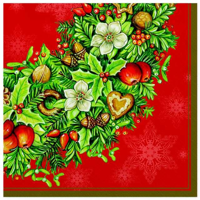 """Serwetki """"Dekoracja z jemiołą i orzechami na czerwonym tle"""", Maki, 33 cm, 20 szt"""