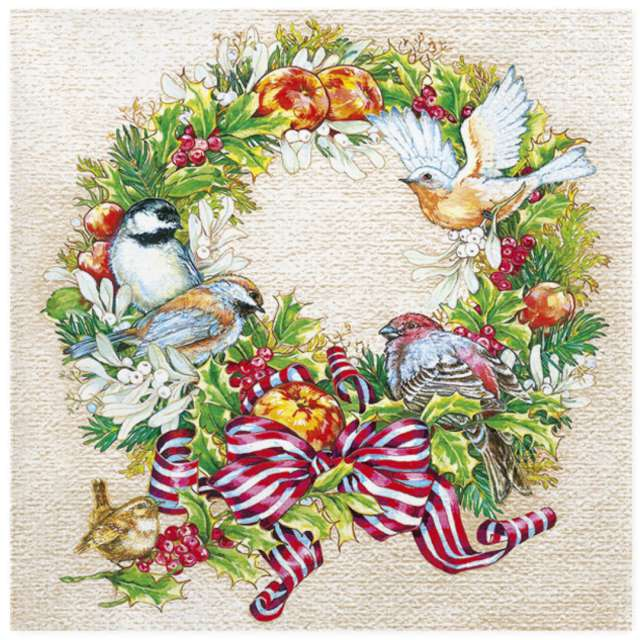 """Serwetki """"Świąteczny wieniec i ptaki"""", Maki, 33 cm, 20 szt"""
