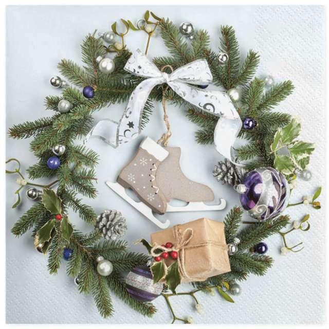 """Serwetki """"Świąteczny wieniec z łyżwami"""", Maki, 33 cm, 20 szt"""