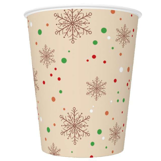 """Kubeczki """"Kraftowe śnieżynki i kropki"""", Maki, 8 szt, 250 ml"""