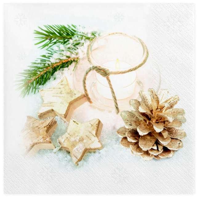 """Serwetki """"Świąteczna dekoracja ze świecznikiem"""", Maki, 33 cm, 20 szt"""