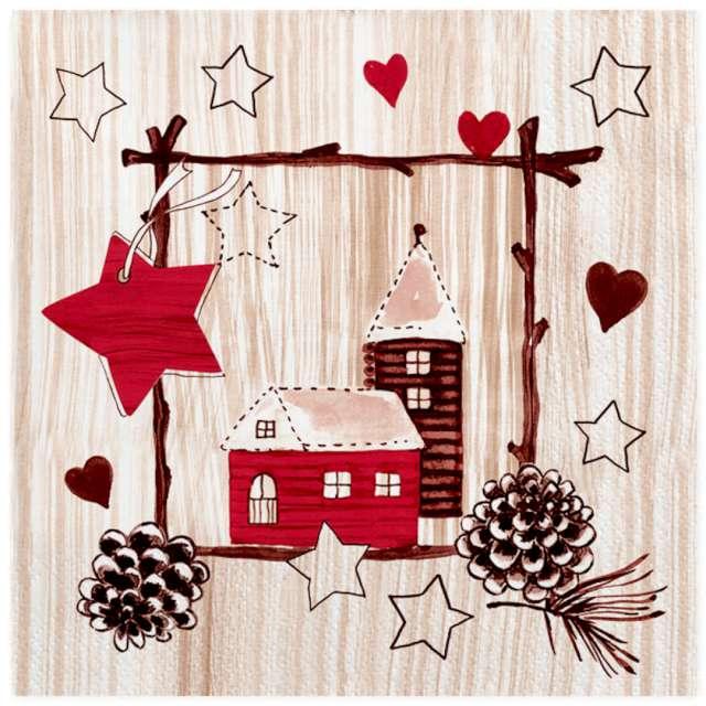 """Serwetki """"Świąteczne ozdoby na jasnym drewnie"""", Maki, 33 cm, 20 szt"""
