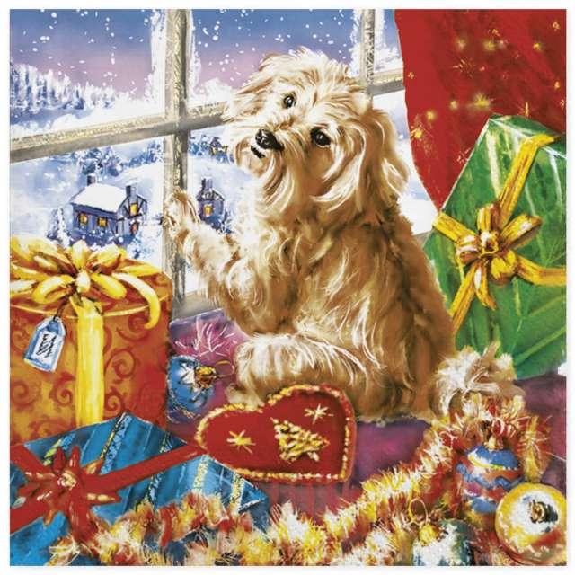 """Serwetki """"Bożonarodzeniowe prezenty i pies"""", Maki, 33 cm, 20 szt"""