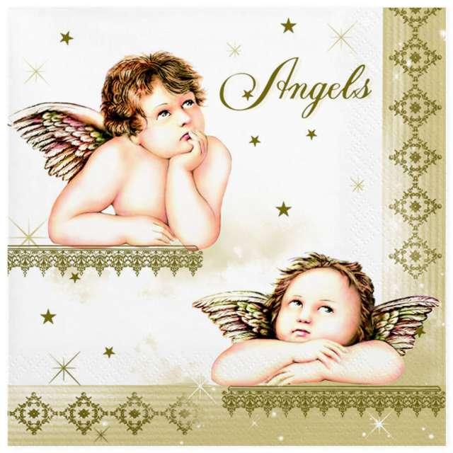 Serwetki Złote z aniołkami Maki 33 cm 20 szt
