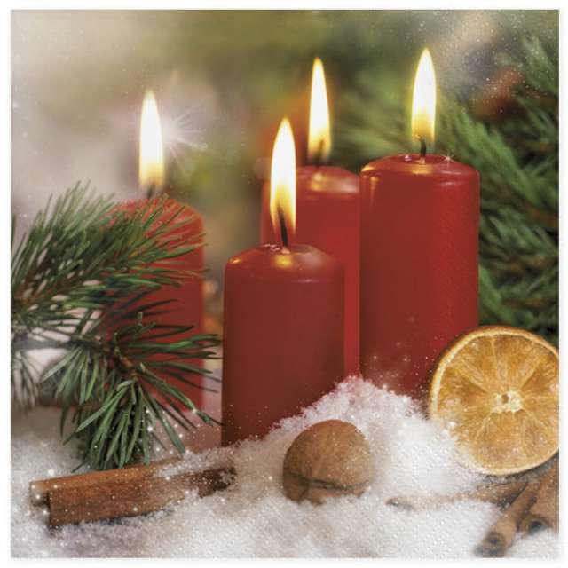 """Serwetki """"Bordowe świece i pomarańcza"""", Maki, 33 cm, 20 szt"""
