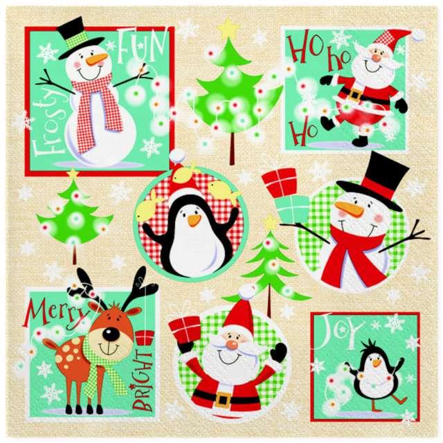 """Serwetki """"Drużyna świątecznych bałwanków"""", Maki, 33 cm, 20 szt"""