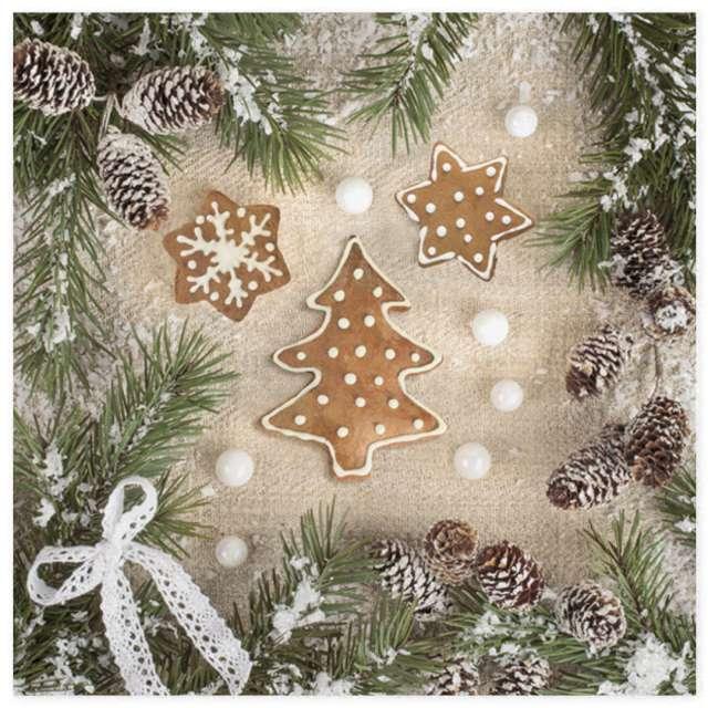 """Serwetki """"Świąteczna dekoracja z piernikami"""", Maki, 33 cm, 20 szt"""
