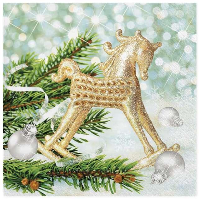 """Serwetki """"Świąteczny złoty konik na biegunach"""", Maki, 33 cm, 20 szt"""