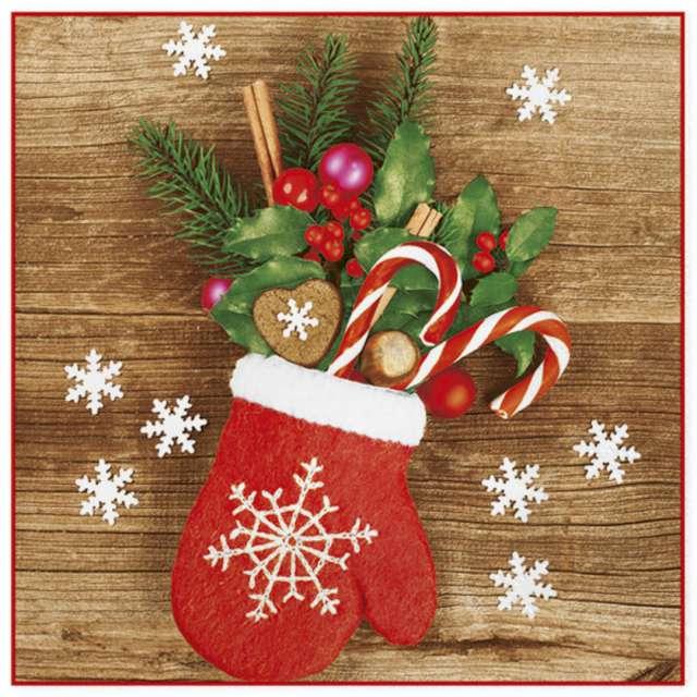 """Serwetki """"Świąteczna rękawiczka z ozdobami"""", Maki, 33 cm, 20 szt"""