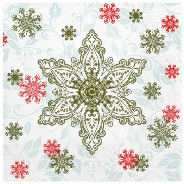 """Serwetki """"Złote i czerwone płatki śniegu"""", Maki, 33 cm, 20 szt"""