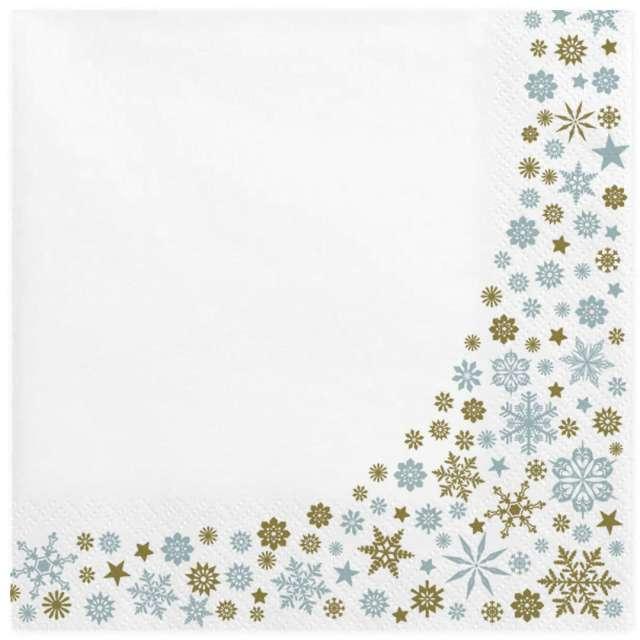 """Serwetki """"Ramka ze świątecznych płatków śniegu"""", Maki, 33 cm, 20 szt"""