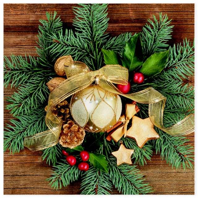 """Serwetki """"Świąteczny wieniec na świerkowym tle """", Maki, 33 cm, 20 szt"""