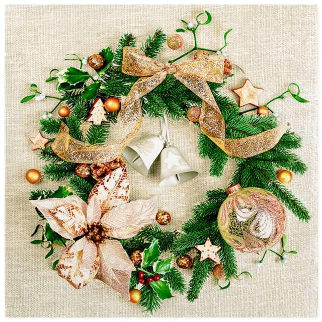 """Serwetki """"Świąteczny wieniec beżowy zdobiony"""", Maki, 33 cm, 20 szt"""