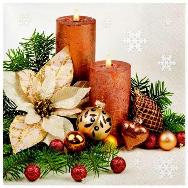 """Serwetki """"Złota poinsecja i dwie świece"""", Maki, 33 cm, 20 szt"""