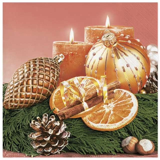 """Serwetki """"Tradycyjna świąteczna kompozycja z pomarańczą"""", Maki, 33 cm, 20 szt"""