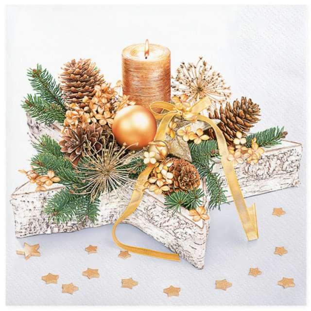 """Serwetki """"Świąteczne złote dekoracje na drewnianej gwiazdce"""", Maki, 33 cm, 20 szt"""