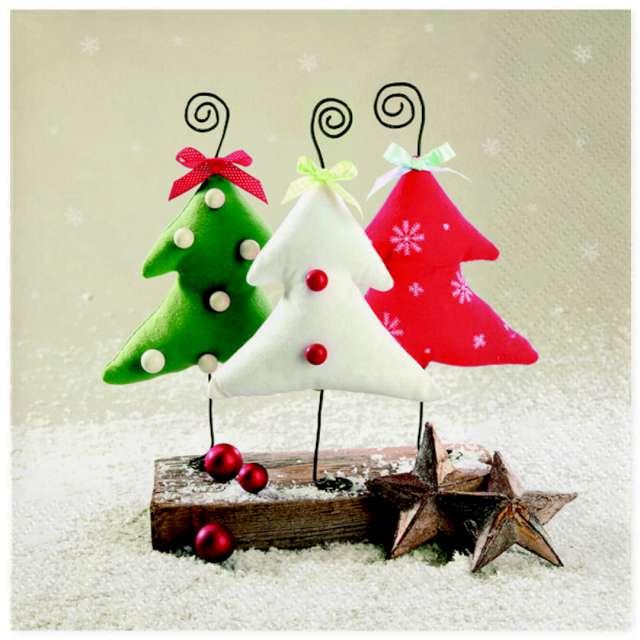"""Serwetki """"Świąteczne choinki na druciku"""", Maki, 33 cm, 20 szt"""