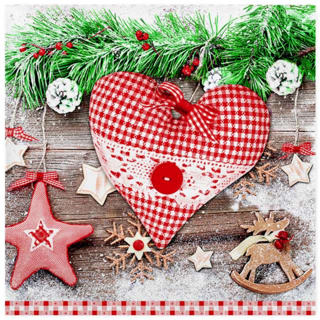 """Serwetki """"Świąteczne serce w czerwoną kratę"""", Maki, 33 cm, 20 szt"""