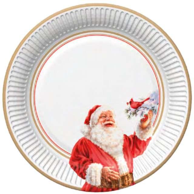 """Talerzyki papierowe """"Wesoły Mikołaj i ptak na gałęzi"""", Maki, 23 cm, 8 szt"""