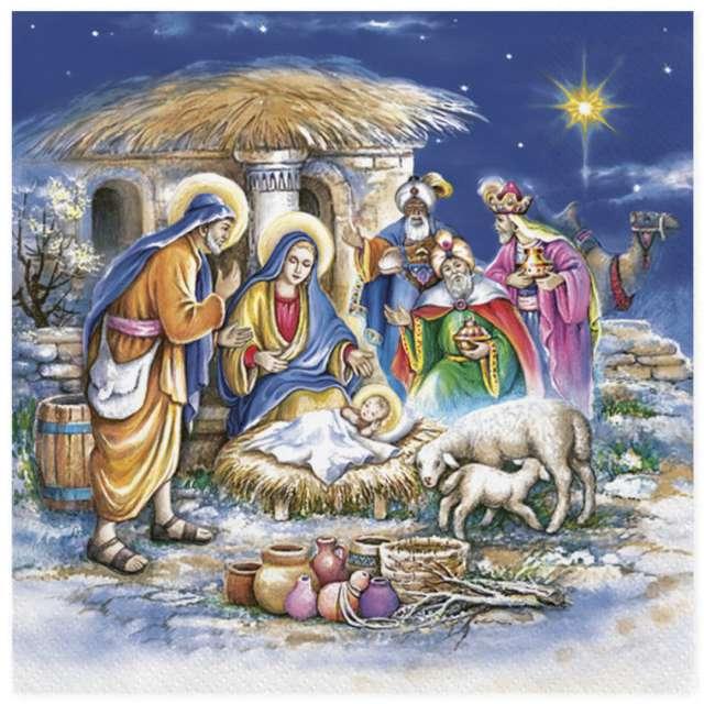 """Serwetki """"Świąteczny żłobek i trzej królowie"""" , Maki, 33 cm, 20 szt"""