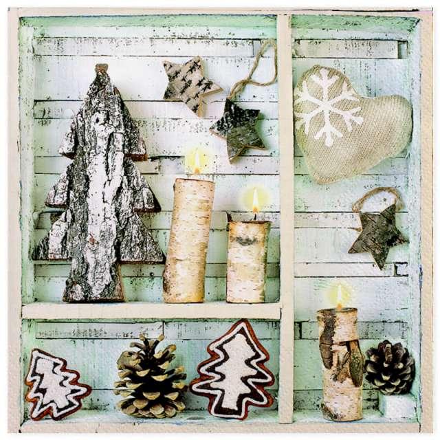 """Serwetki """"Naturalne zimowe dekoracje"""", Maki, 33 cm, 20 szt"""