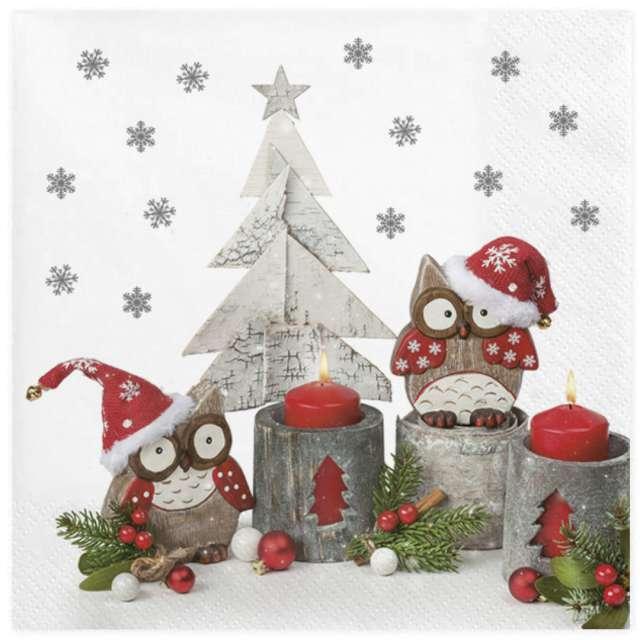 """Serwetki """"Sowy w świątecznych czapkach"""", Maki, 33 cm, 20 szt"""